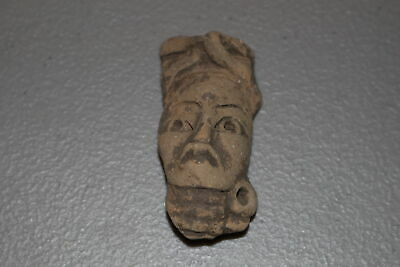 Pre-Columbian Mayan Inca Aztec Pottery Head/Face Fragment-Artifact F