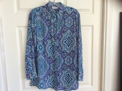 Joan Rivers Moroccan Print Silky Blouse w/ Long Sleeves Blue X-Small A289081