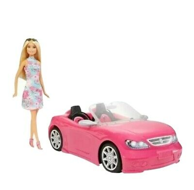 Mattel Barbie Convertible Car And Barbie Doll Playset New