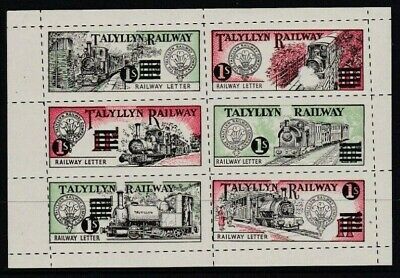 RARE 1958 TALYLLYN RAILWAY 1s ON 11d LETTER STAMP SHEET OF 6 FINE UNMOUNTED MINT