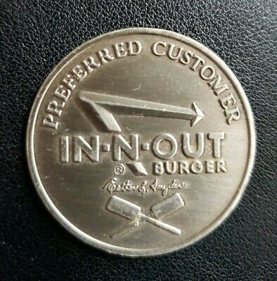 In N Out Burger Collectible Coin Preferred Customer Circa 1986 Good for Burger