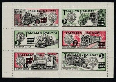 Rare 1958 Talyllyn Railway Letter Stamp Surcharged Sheet Of 6 Unmounted Mint
