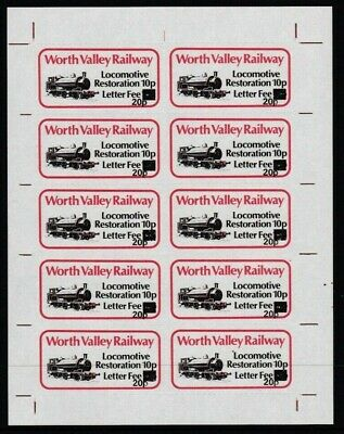 1981 Worth Valley Railway Surcharged Letter Stamp Sheet Of 10 Ungummed. Scarce