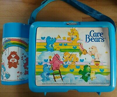 🌈Care Bears 1983 Lunch Box & Mint Flask Aladdin VINTAGE TruLy FaBuLoUs🌈