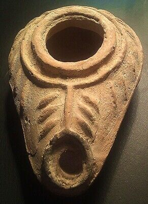 Museum Quality 1500+ Year Old JEWISH Oil lamp with MENORAH - Fired Clay - Superb
