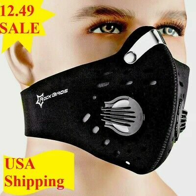 USA SELLER Cycling Air Purifying Face Mask Cover Washable Reusable w/Filter