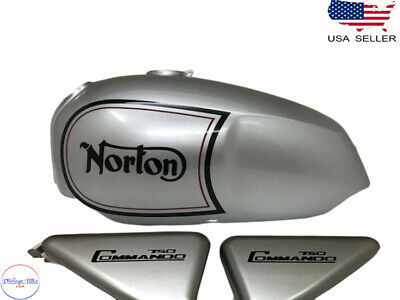 Fit For NORTON COMMANDO ROADSTER SILVER PAINTED STRIPE FUEL TANK + SIDE PANEL