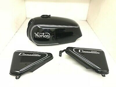 Norton Commando Roadster Black Painted Fuel Petrol Tank + Side Panel|Fits For