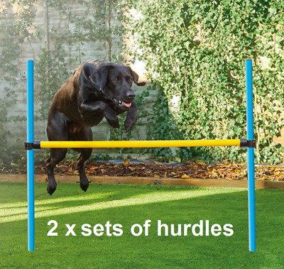 2 x sets of Dog Agility Hurdles in blue/yellow with spikes - canvas carrybags