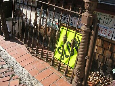 Lg Antique Heavy Cast Iron Victorian Gate with Ornate Cast Iron Posts