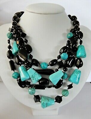 Southwest Sterling Silver Turquoise & Onyx Multi-Strand Necklace