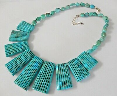 Southwest Sterling Silver Carved Turquoise Reversible Necklace