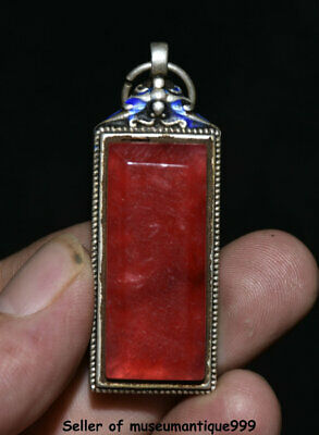 """2.2"""" Rare Old Chinese Silver Inlay Red Jade Gem Dynasty Palace Amulet Pendant"""