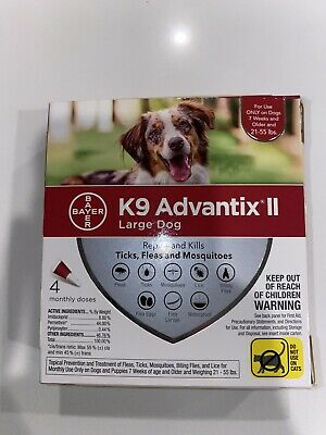 BAYER K9 ADVANTIX II LARGE DOG 21-55lb FLEA TREATMENT CONTROL 4 MONTHLY DOSES