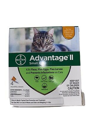 NEW SEALED Bayer Advantage II Flea Treatment for Small Cats 5 - 9 lb 4pack #2086
