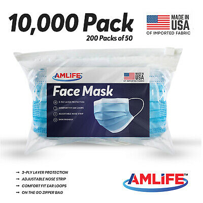 Made in USA 10000 Pack Disposable Face Mask Dental Surgical Wholesale Lot Bulk