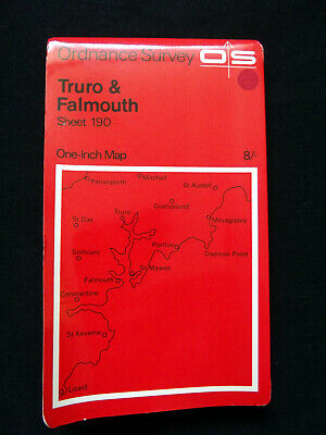 OS Truro & Falmouth Sheet 190 One-Inch Map from 1966 - very good condition