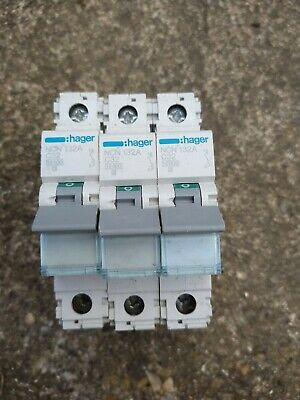 Lot of 3x HAGER 32 AMP TYPE C 10kA MCB CIRCUIT BREAKER NCN132A 461555