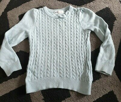 ** Vgc - Girls - H&M - Myanmar - Jumper - Pale Green - 3-4 Years **