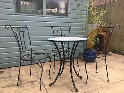Original vintage French cafe bistro table and chairs; cast iron (refurb project)