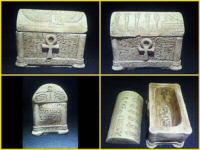 EGYPTIAN ANTIQUES ANTIQUITY Lided Stone Sarcophagus Coffin Tomb 1549-1083 BC