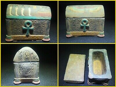 EGYPTIAN ANTIQUES ANTIQUITY Lided Stone Sarcophagus Coffin Tomb 1549-1084 BC