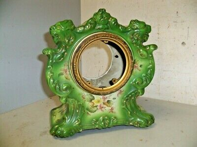 Antique Ansonia Tempest Model China Clock Case W Lions