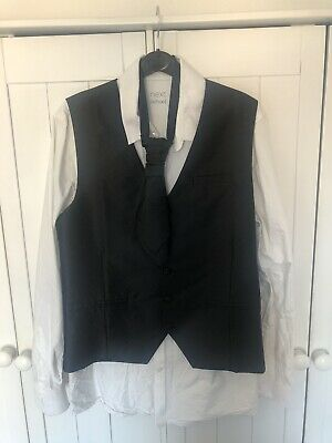 Boys White Shirt, Black Waistcoat And Tie From Next Age 15 Worn Once