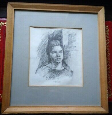Beautiful Pencil Portrait Of Christine Adams By Daphne Todd Obe Renowned Artist.