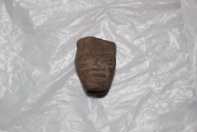 Pre-Columbian Mayan Inca Aztec Pottery Head/Face Fragment-Artifact N