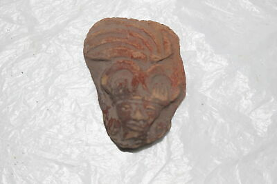 Pre-Columbian Mayan Inca Aztec Pottery Head/Face Fragment-Artifact J