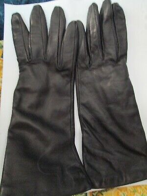 Talbots Black Leather Women's soft Gloves Made In Italy 7.5 lined