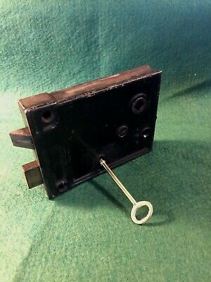 VTG ANTIQUE USED WORKING METAL RIM SURFACE LOCK w/PRIVACY LATCH & KEY NO KEEPER