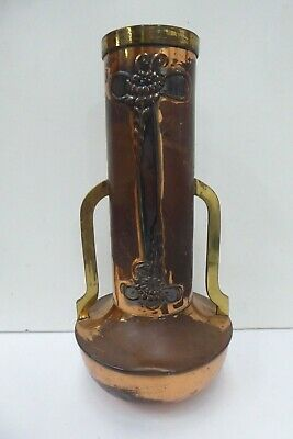 Art Nouveau Solid Copper And Brass Embossed Floral Design 2 Handle Vase