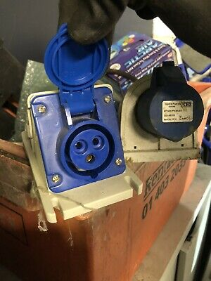 Industrial Watertight Exterior 240v Socket Blue For Armoured  Qty2