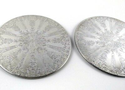 Lot of 2 Hot Pads Silver Finish on Wood Base 6 inch Stamped Garden Harvest Style