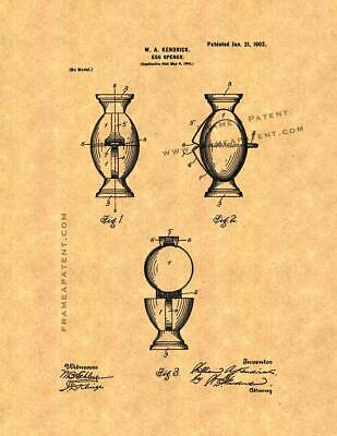 Egg Opener Patent Print Ancient Gold