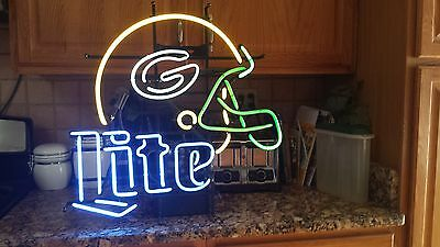 Rare Vintage Miller Lite Green Bay Packer Helmet Neon Sign