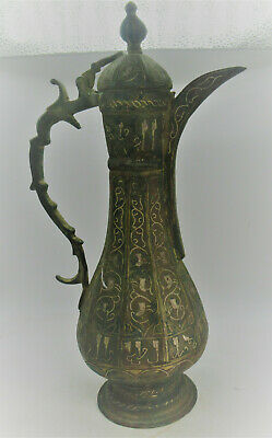 Finest Circa 1400Ad Ancient Islamic Bronze Silver Inlaid Decorated Ewer Vessel