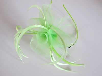 NEW Green centre net flower and feather fascinator alice headband wedding races