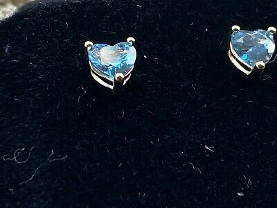 Heart Shaped Blue Topaz Vintage Earrings in 9ct Yellow Gold