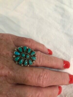 Vintage turquoise cluster silver ring, size 6