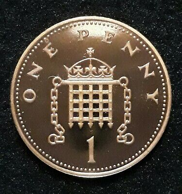 1984 Royal Mint Crowned Portcullis Chains One Penny 1p UK Uncirculated Coin