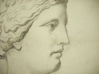 Drawing Original c1880 Depending the Ancient Portrait Of Young Roman Or Greek