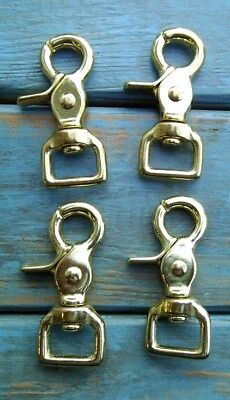 Stainless Steel Trigger Scissor Snaps Square Ends Swivel Horse Tack Lot of 4 New