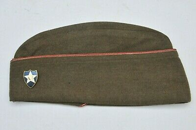 1944 2nd INFANTRY WWII US GARRISON HAT SIZE 7 1/8 with INDIAN BADGE