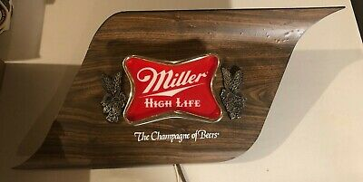 Vintage Miller High Life Sign Lighted the champagne of beers
