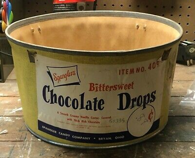 Vintage Spangler Candy Bittersweet Chocolate Drops Store Display Bucket Pail