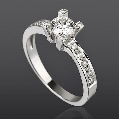 Solitaire & Accents Diamond Ring 14 Karat White Gold Si1 1.09 Ct Anniversary