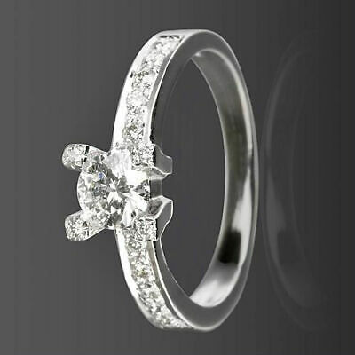 Diamond Solitaire And Accents Ring 1.1 Ct Vvs1 14K White Gold Size 5 6 7 8